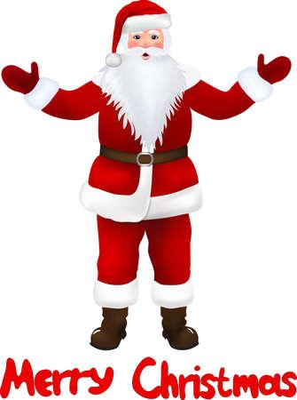 white bacground: Pap� Noel aislado en blanco bacground, tarjeta de Navidad