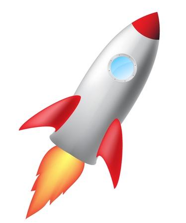cohetes: cohete de dibujos animados aislado en el fondo blanco