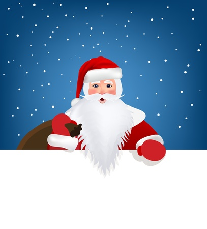 Santa Claus pointing in white blank sign with smile, isolated on white background Vector