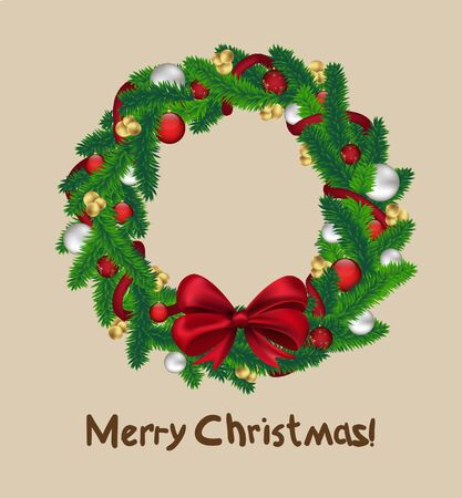 Christmas wreath isolated on white background, vector photo