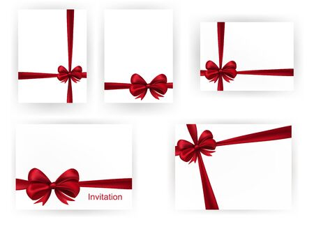 Set of beautiful cards with red gift bows with ribbons Stock Vector - 17178852
