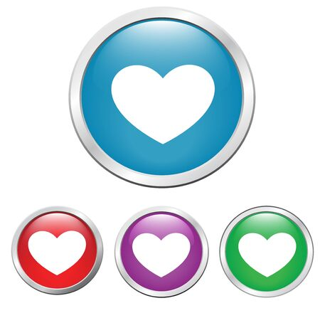 set of buttons on the button heart, illustration Stock Illustration - 17209027