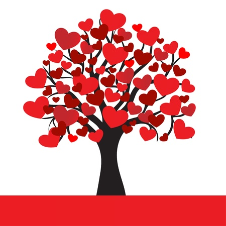 abstract hearts tree, for Valentine Day  Vector