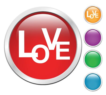 Love button set, sign web  Vector