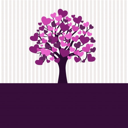 Valentine tree for your design, heart shape leaves Illustration