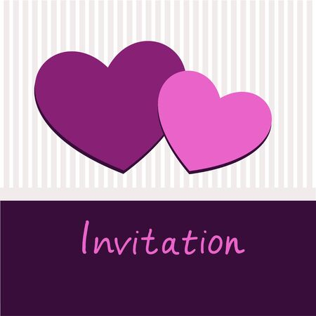 heart invitation frame  Purple valentines Day card Stock Vector - 17223246