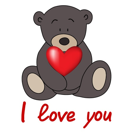 teddy bear, love postcard, Valentines Day, vector Vector