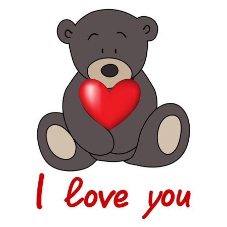 teddy bear, love postcard, Valentines Day, vector