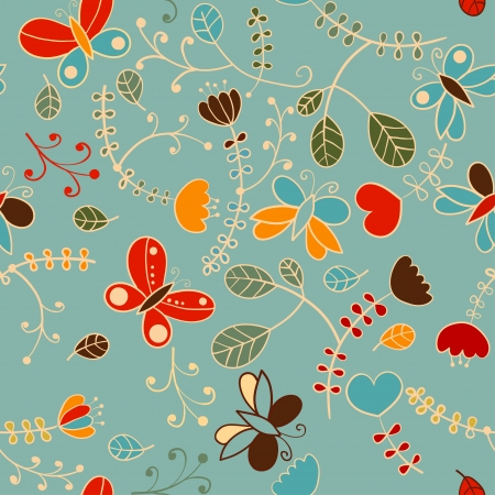 floral seamless texture, endless pattern with flowers, butterflies  Can be used for wallpaper, pattern fills, web page, surface, fabric Vettoriali