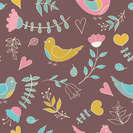 Cute colorful floral seamless pattern with hearts and bird  Vector