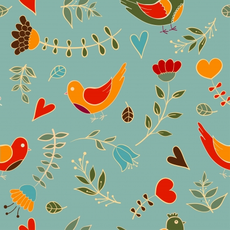 floral seamless texture, endless pattern with flowers bird,  Can be used for wallpaper, pattern fills, web page, surface, fabric Vector