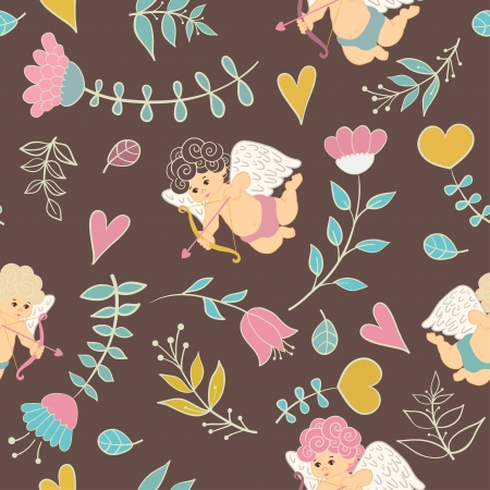 Cute colorful floral seamless pattern with hearts and cupid Vector