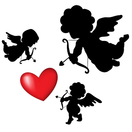 silhouette cupid and a big red heart on the background,  Valentines Day Vector