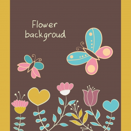 greeting card with flowers, hearts, butterfly Vector