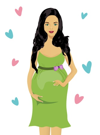 Pregnant woman isolated on white background Vector