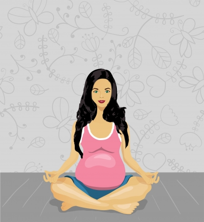 pregnancy yoga: Pregnant woman doing yoga