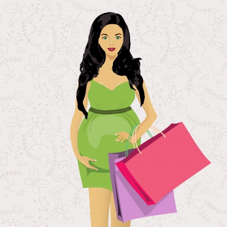 pregnancy belly: Pregnant woman shopping, Women on the seamless background Illustration