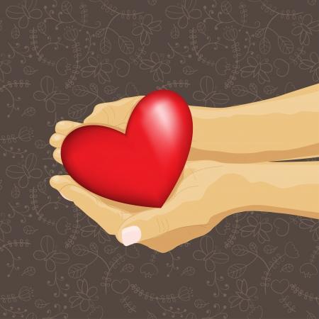 elementos de protección personal: corazón en la mano, ilustración de patrón transparente