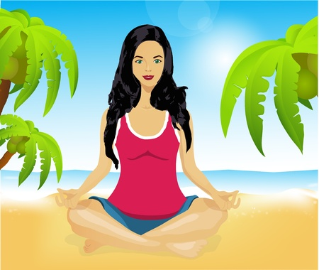 holistic: Woman meditating on a picturesque beach