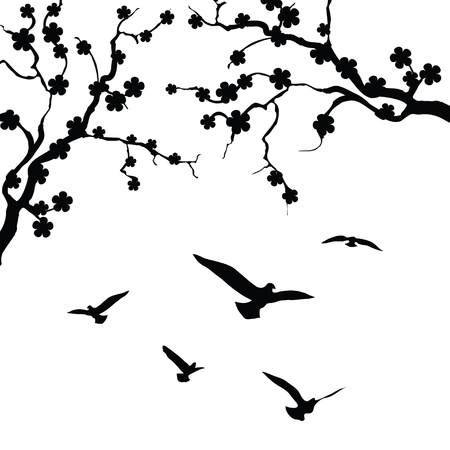 Tree and bird isolated on white background Stock Vector - 17414056