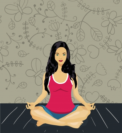 woman meditating Stock Vector - 17640905