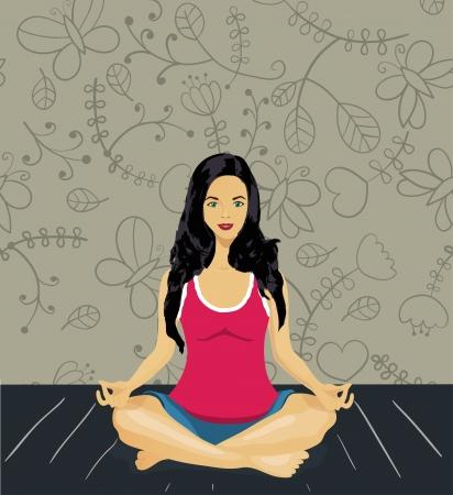 woman meditating Stock Vector - 17640905