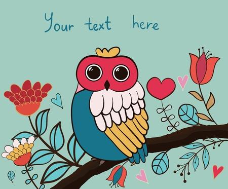 Card flower, owl Stock Vector - 17640909