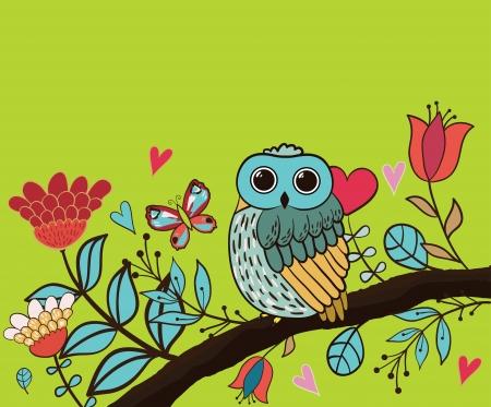 wise old owl: Card flower, owl Illustration
