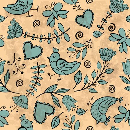 Flower, hearts, birds seamless Vector