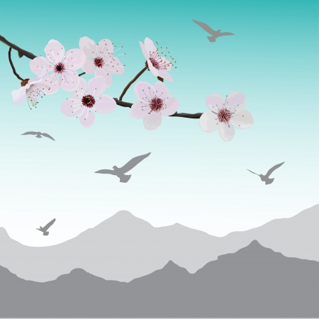Almonds flower and birds Vector