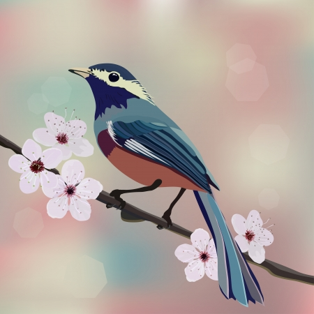 amande: Le design de carte, d'oiseaux et de fleurs
