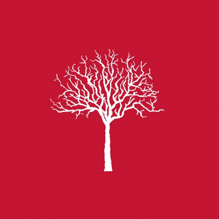 Icon white tree on red, vector illustration. Stock Vector - 18675490