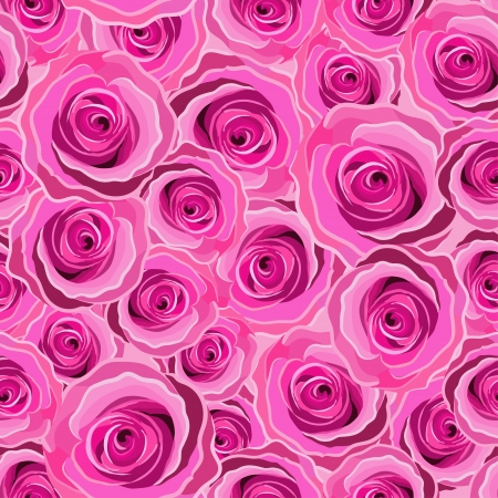 Seamless pink art vector rose pattern Stock Illustratie