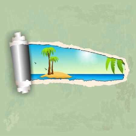 sea shore: Torn paper and island