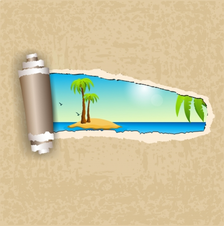 Torn paper and island Vector