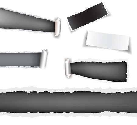Set torn paper grey Vector