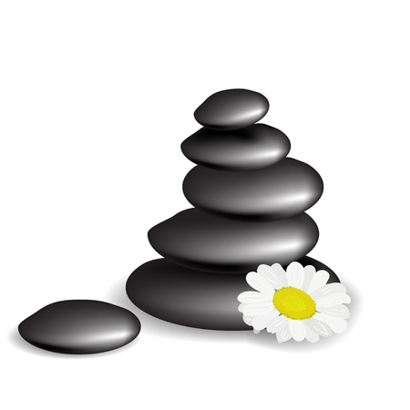 meditation stones: Stones with flower Illustration