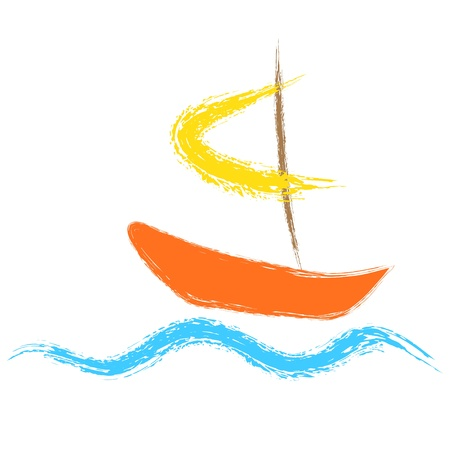 Boat sailing on the waves  Vector