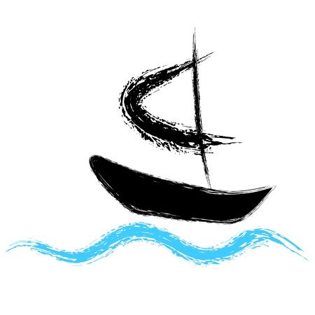 Pirates boat sailing on the waves  Vector