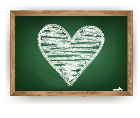 Heart drawn in white chalk on a blackboard. Vector Vector