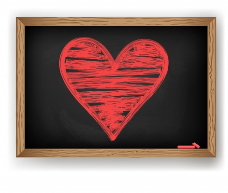 Heart drawn in red chalk on a blackboard. Vector Vector