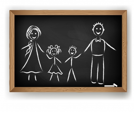 consept: Family drawing on chalkboard. Vector consept