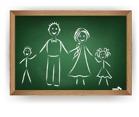 Gráfico de la familia en la pizarra. Vector consept