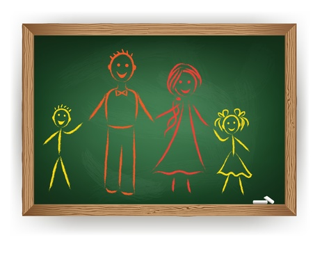 Family drawing on chalkboard. Vector consept Vector