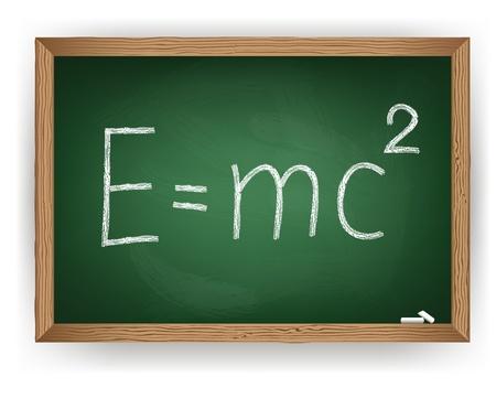 mc2: Albert Einsteins physical formula on blackboard Illustration