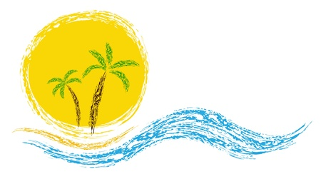 Palm on coast. Vector image for design Illustration