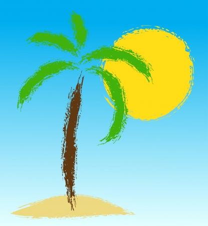 Palm tree on island. Vector draw Stock Vector - 20830319