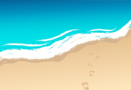 footprints in sand: shoreline and waves