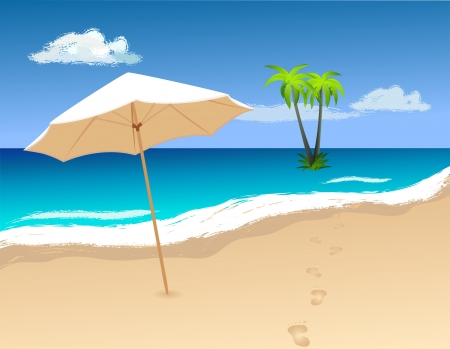 footprints in sand: Sun umbrella on the beach. Beautiful landscape vector