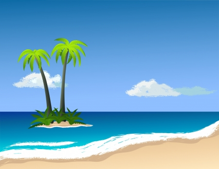 Palm trees on the island. Vector image. Stock Vector - 20830413